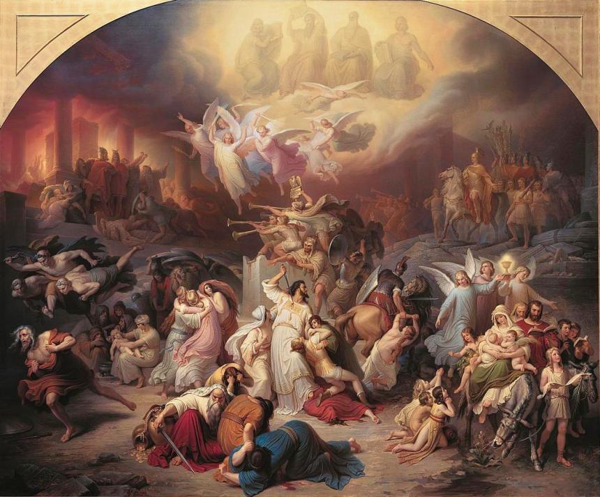 Titus Destroying Jerusalem by Wilhelm von Kaulbach Cir 1845