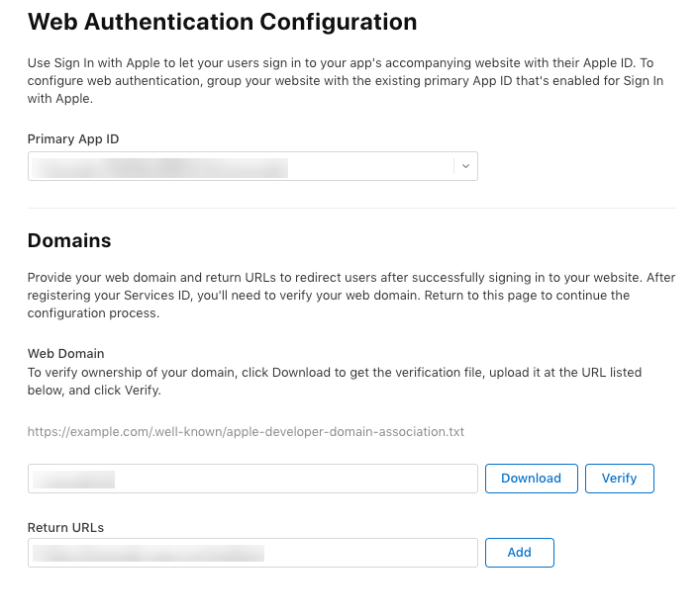 Web Authentication Configuration, enter example-app.com/redirect for the redirect URL