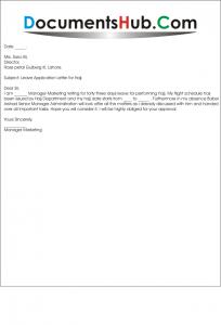 Leave Application Letter for Hajj