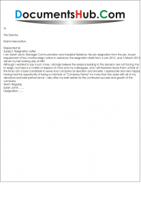 Resignation Letter with Notice Period Format