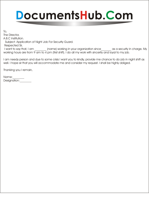 Sample application letter for the post of security guard sample application of night job for security guard thecheapjerseys Gallery