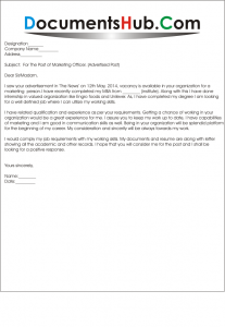 Cover Letter for Marketing executive