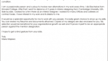 cover letter for interior designer - Fashion Designer Cover Letter