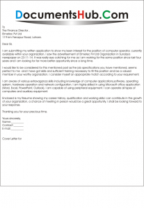 Sample Application Letter for the Post of Computer Operator