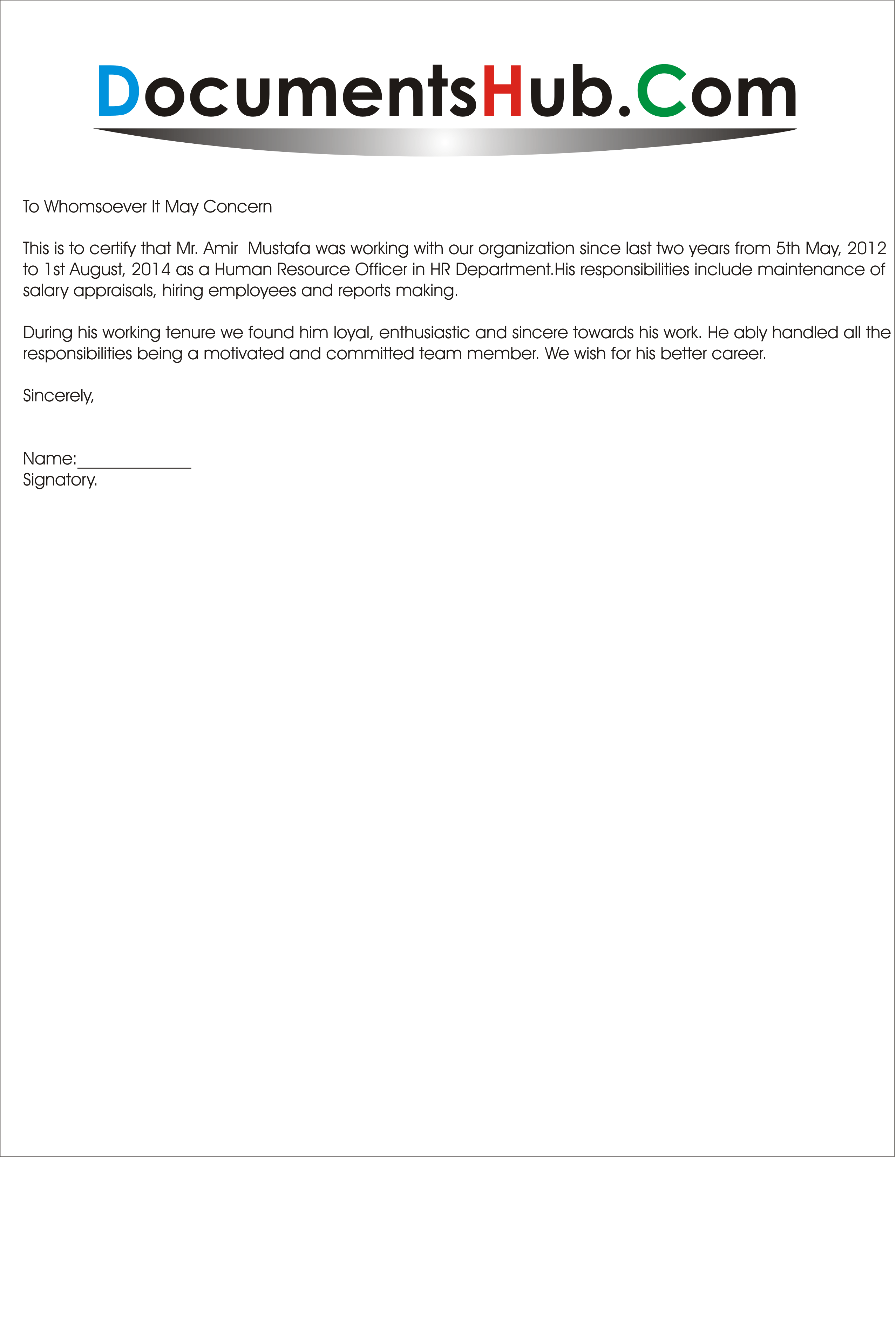 Experience letter for sales officer yelopaper Gallery