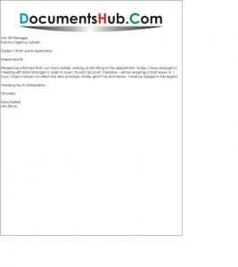 Short Leave Application Format for Office