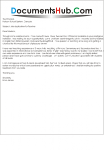 Application Letter for Teaching Position With Experience