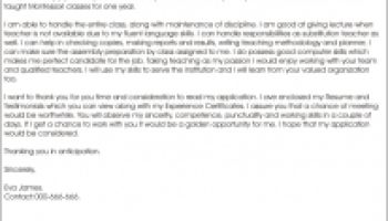 cover letter for assistant teacher - Cover Letter For Teacher Position