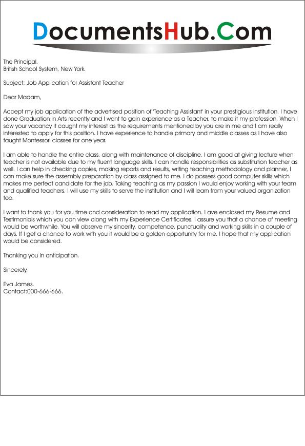 teacher position cover letters