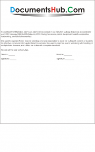 Experience Letter for School Coordinator