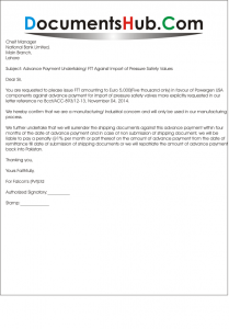 Letter of Undertaking Against Import Advance Payment