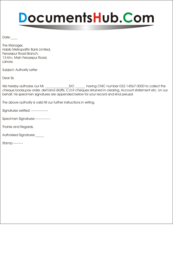 sample authorization letter for bank transactions