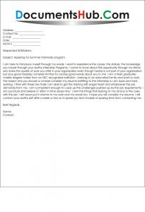 Cover Letter for Summer Internship Program Sample