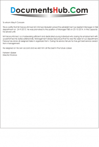 Experience Letter for F&B Manager Sample