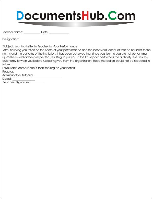 Warning Letter For Teacher