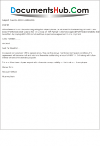 Sample Agreement Eamil Against Credit Card