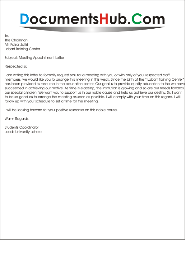 sample meeting request letter to chairman ssl1