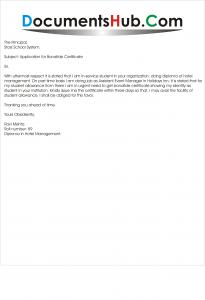 Sample Application for Bonafide Certificate