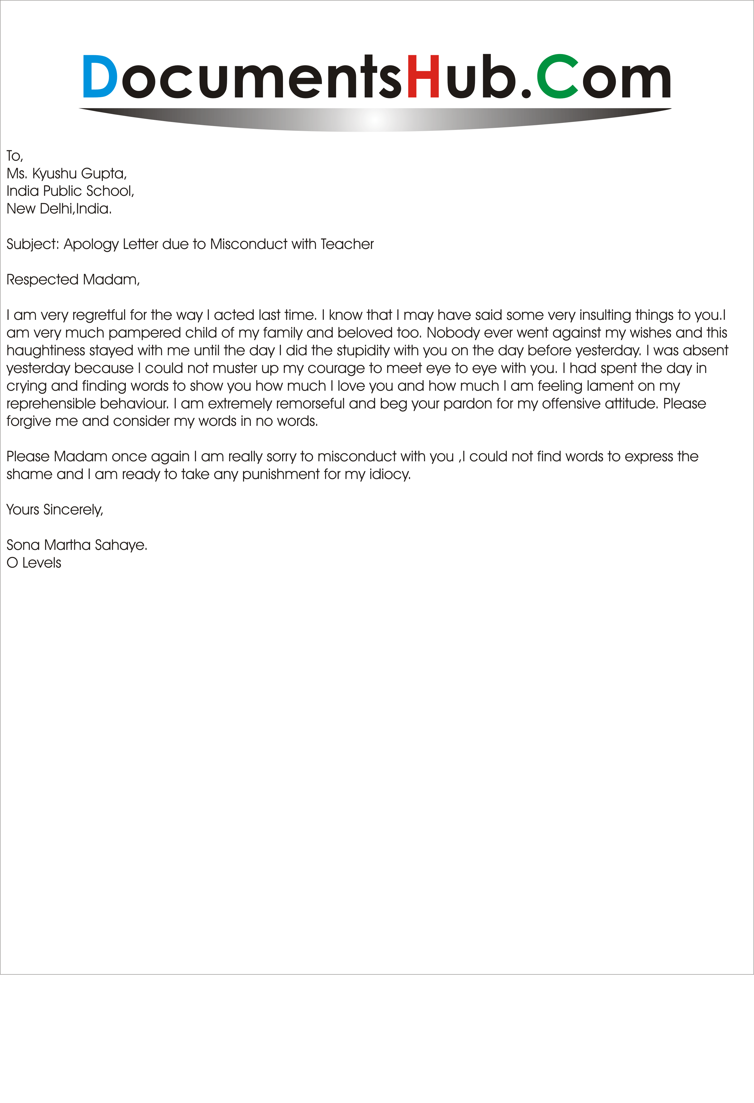 Letter due to Misconduct with Teacher