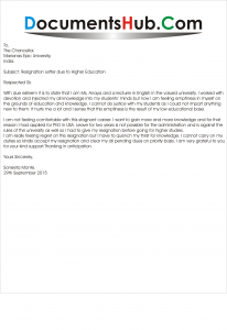 Lecturer Resignation Letter due to Higher Studies