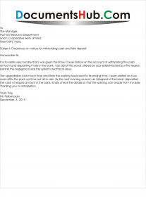 Clearance Letter  for withholding Cash and Late Deposit