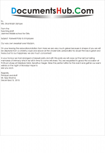 Sample Farewell Party Invitation Letter