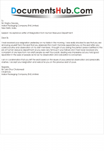 Acceptance Letter of Resignation from Human Resource ...