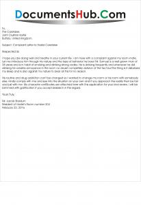 Sample Complaint Letter to Hostel Caretaker