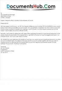 Sample Request Letter to transfer Funds between Accounts