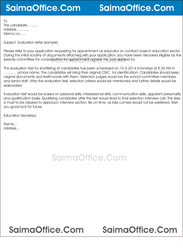 evaluation letter sample for employee