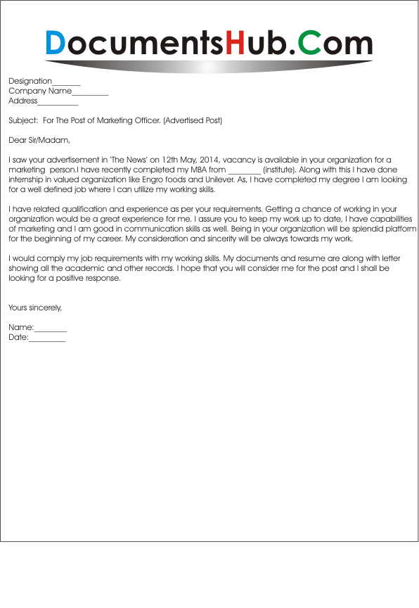 Sample cover letter for marketing job for Cover letter for marketing executive fresher