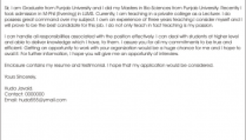 Application Letter For Biology Teacher   Sample Customer Service     Application letter for the post of lecturer in computer science