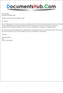 Meeting Cancellation Letter Sample