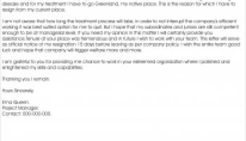 resignation letter due to illness - Resignation Letter Health