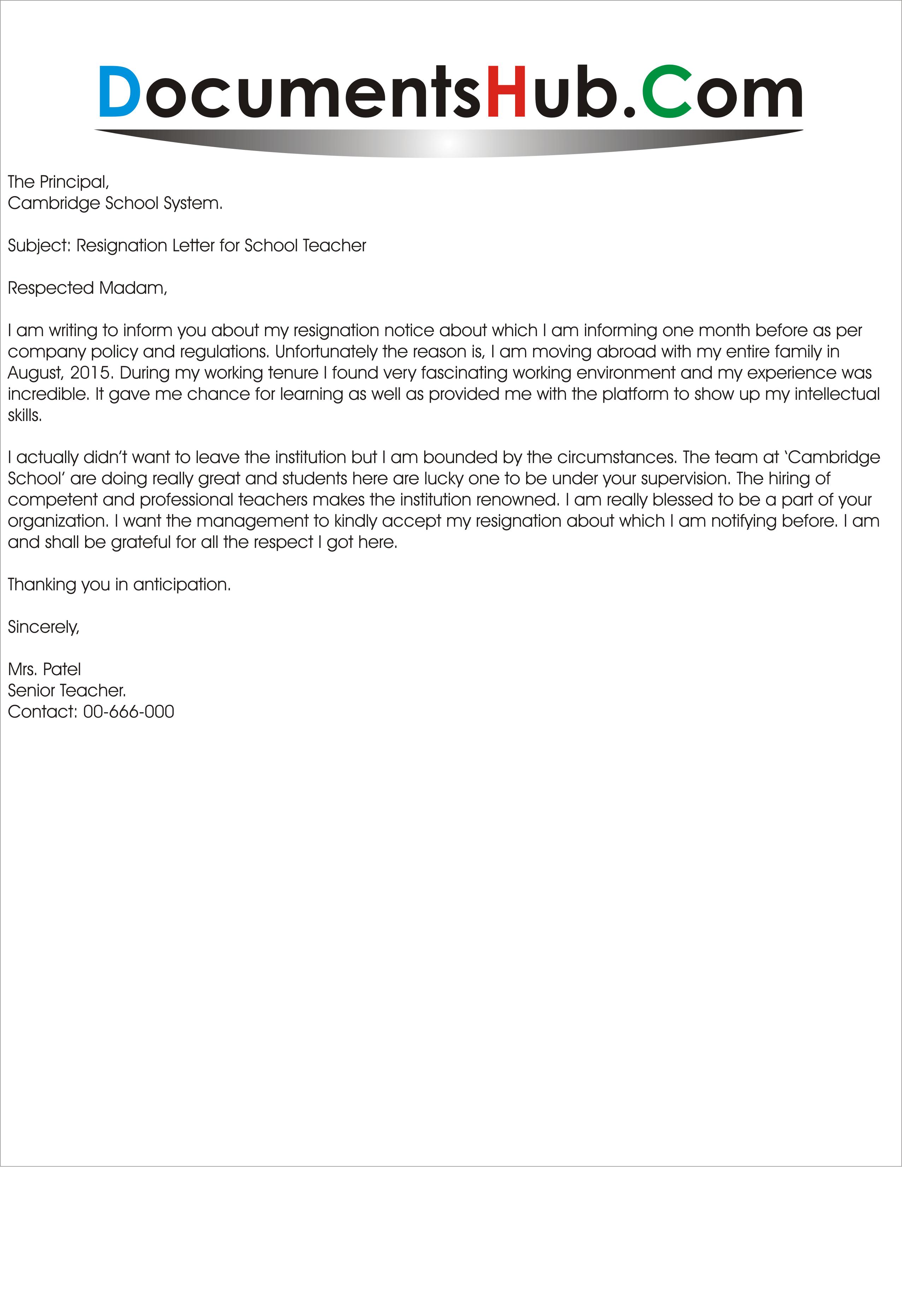 resignation letter for school teacher - Resignation Letter Health