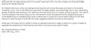 letter by parents for class teacher