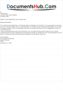 Sick Leave Application due to Fever | DocumentsHub.Com
