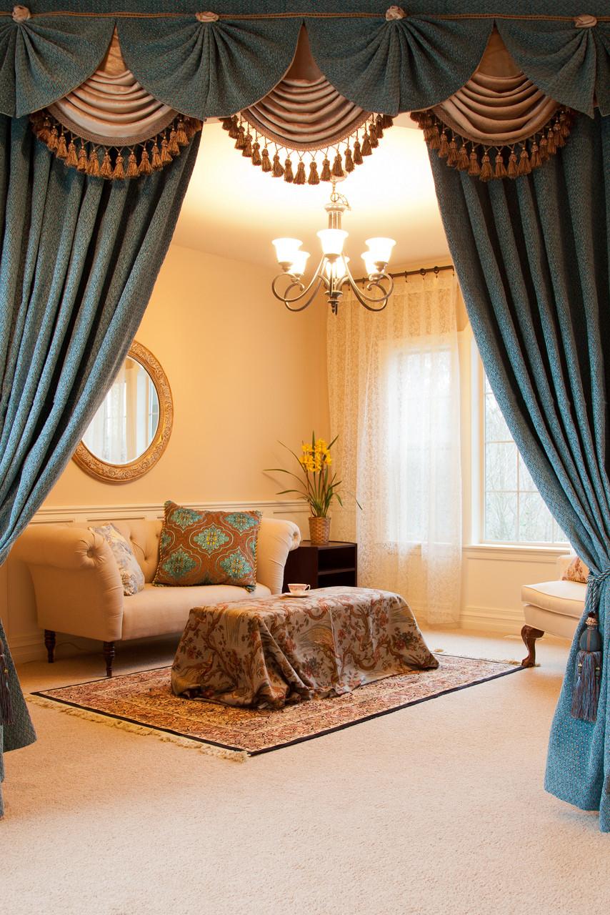 Blue Salon swag valances curtain drapes 100 on Draping Curtains Ideas  id=18118