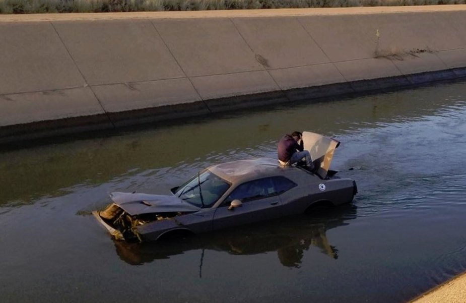 Dodge Challenger in a Canal