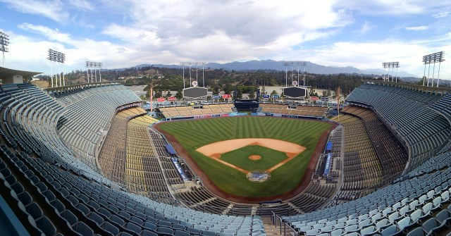blu heart of los angeles dodger stadium during voting covid