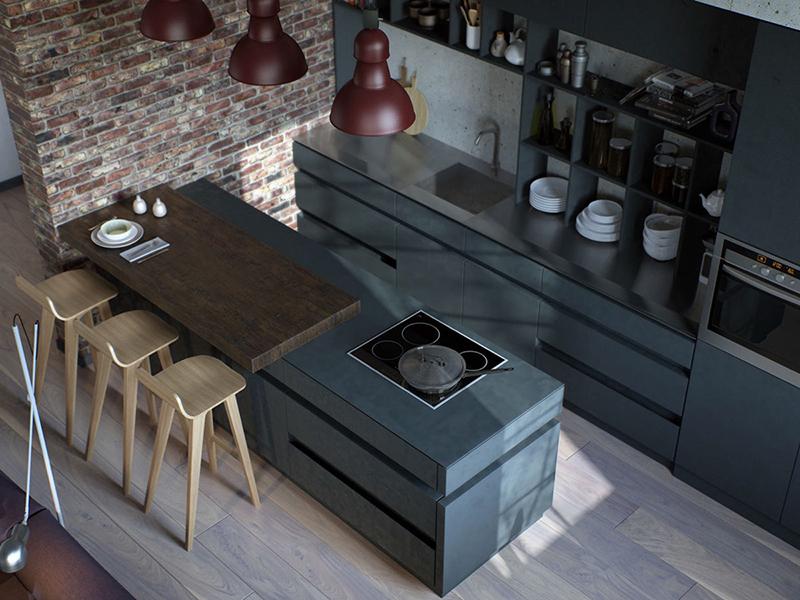 cozinha industrial cinza