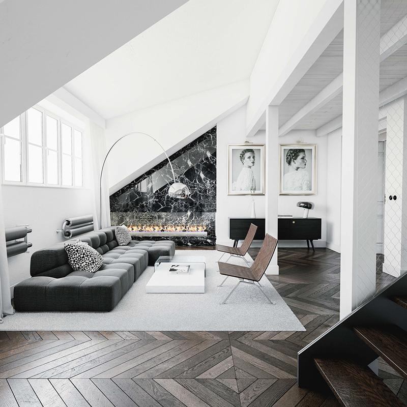 Sala em preto e branco com destaque para o piso