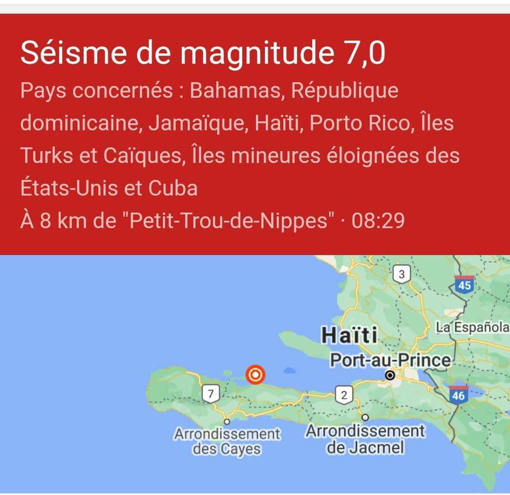 Un tremblement de terre a secoué Haïti ce 14 août 2021