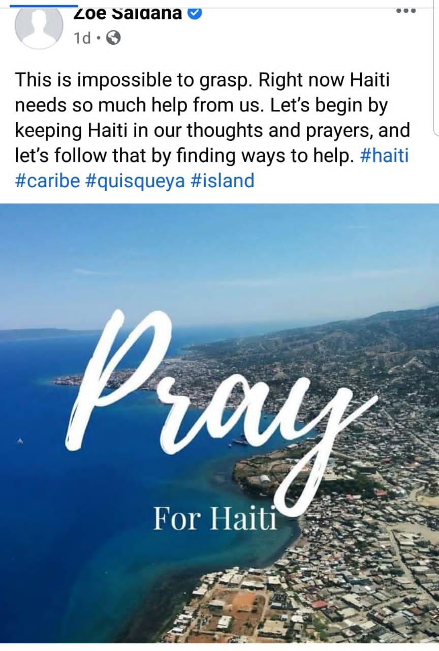 Zoe Saldana invite à prier pour Haïti avant tout