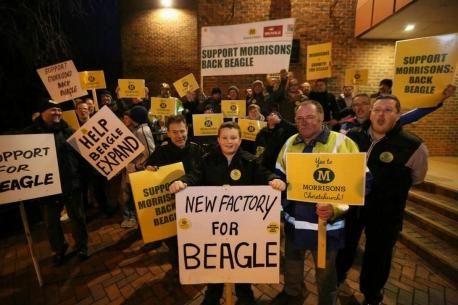 Bournemouth Echo: Morrisons supporters outside the council chamber at Christchurch