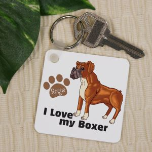Personalized I Love My Boxer Key Chain