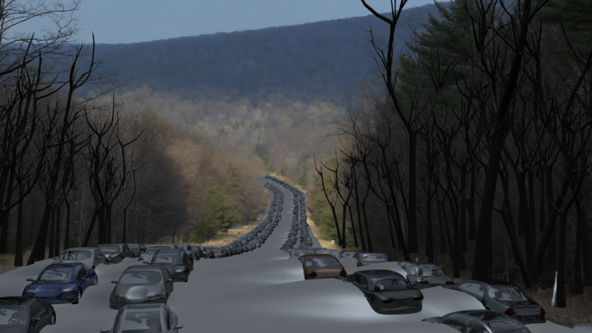 A podcast about movie making and the scifi featurette, Daughter of God, with Director Shri Fugi Spilt, (Dan Kelly). What's the Mission? A test render of Jonathan's 3D car models on the abandoned PA turnpike.