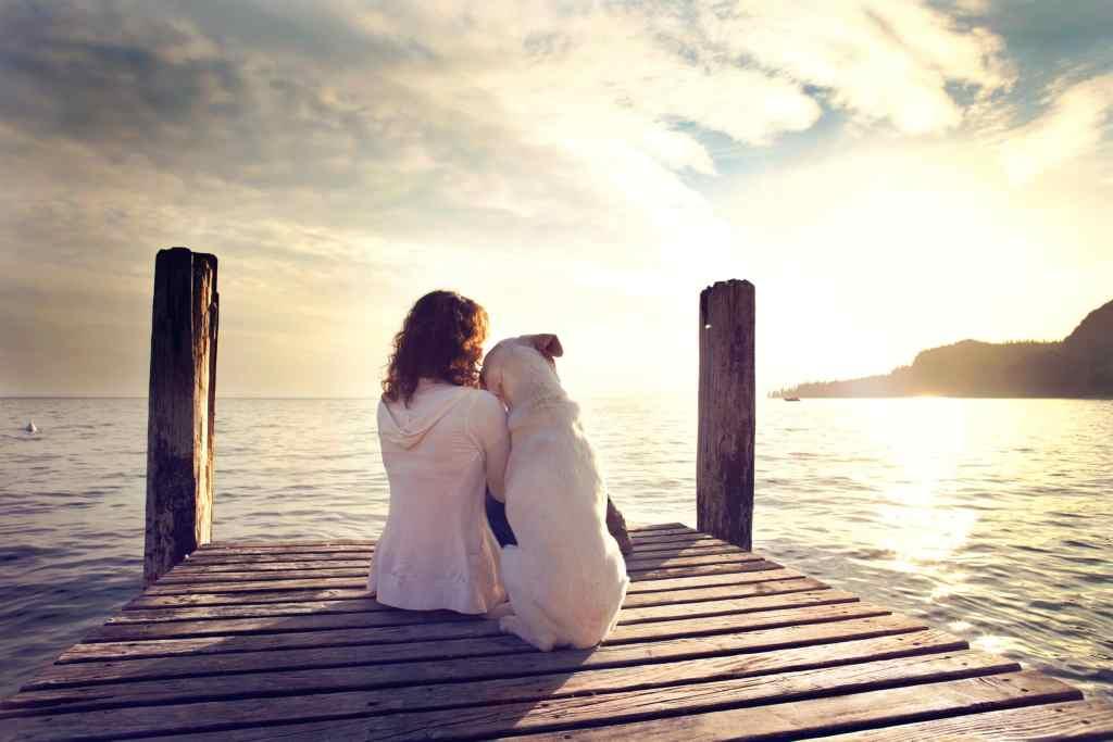 犬と寄り添う女性