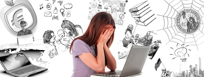a stressed woman with her hands on her face in front of a laptop with a cartoon background of a lot of things on her mind