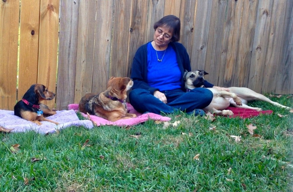 Eileen Anderson with her three dogs